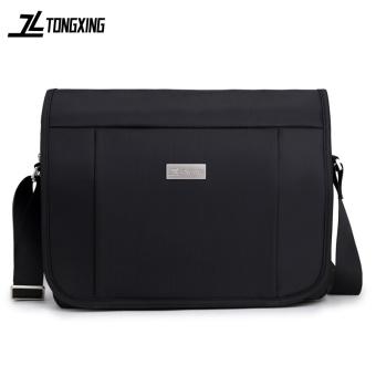 Large Capacity man bag Oxford woven shoulder bag men's bag messenger casual bag computer bag cross-section business briefcase (Black) - 2