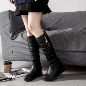 Large Plus velvet female New style warm cotton boots winter shoes (Black)