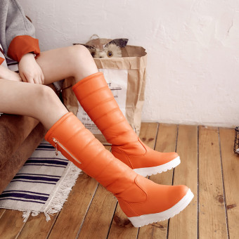 Large Plus velvet female New style warm cotton boots winter shoes (Orange)