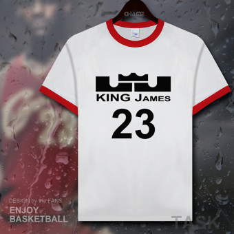 Lebron KNIGHT men 23 No. Jersey T-shirt (Contrasting color collar red edge black word)