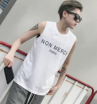 Lin curved summer LES handsome t cotton undershirt male sportsloose letters printed round neck sleeveless T-shirt t-shirt t(White)