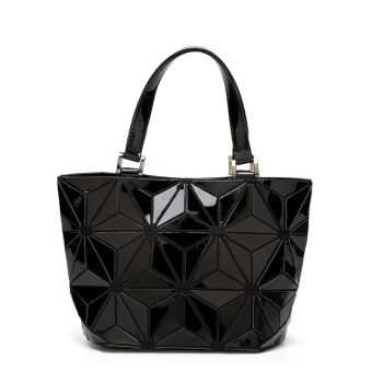 Lingge New style geometric irregular laser bucket bag (The transformers bucket bag small black)