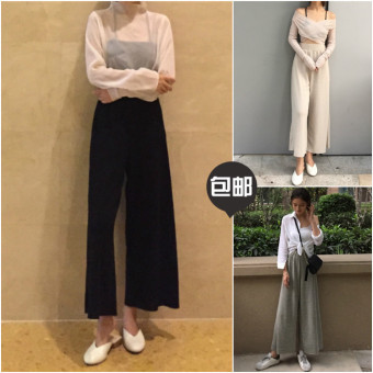 LOOESN autumn female New style ankle-length Pants pants (Gray)