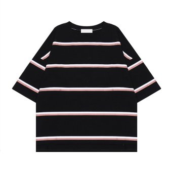 LOOESN Jianyue homemade spring striped T-shirt (Black)