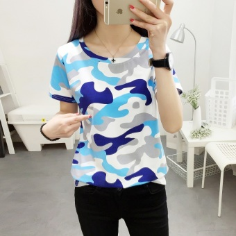 LOOESN Korean-style camouflage short sleeved t-shirt (366 (blue camouflage))