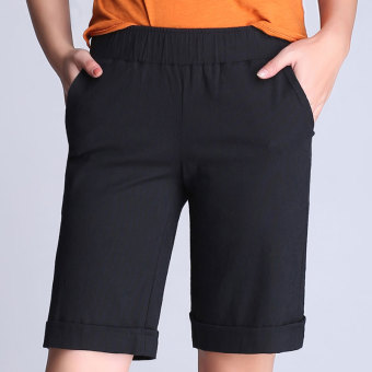 LOOESN Korean-style cotton linen student Plus-sized linen shorts (Black)