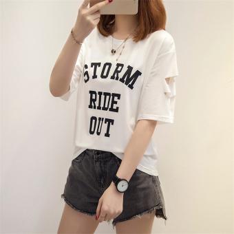Korean-style female New style lettered Top T-shirt (812 * white)