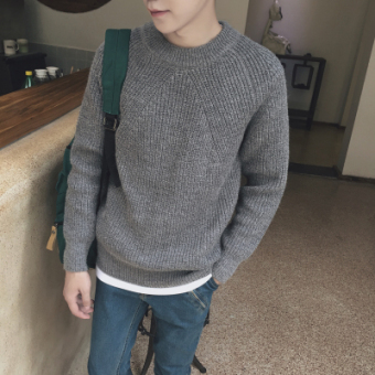 LOOESN Korean-style men round neck pullover thick sweater winter sweater (Gray)
