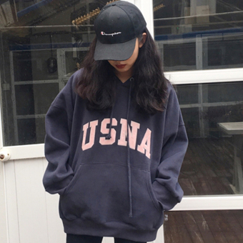 LOOESN Korean-style Plus velvet lettered embroidered thick hooded pullover hoodie (Blue (Plus velvet models))