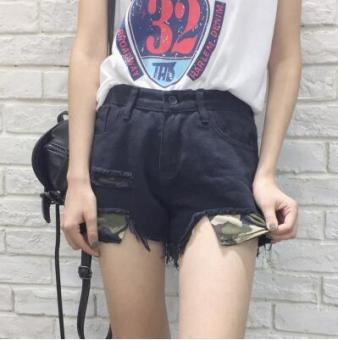 LOOESN Korean-style spring female New style pants cowboy shorts (1426 black)