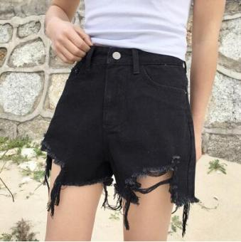 LOOESN Korean-style spring female New style pants cowboy shorts (8298 black)