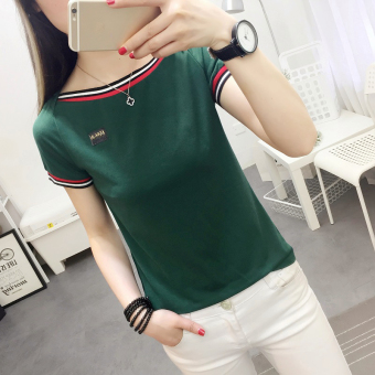 LOOESN Korean-style white T-shirt New style Female Summer (Green)