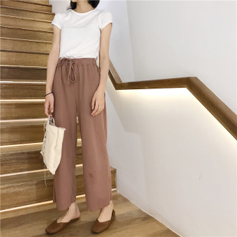 LOOESN Korean-style women high-waisted student casual pants wide leg pants (Dark Coffee)