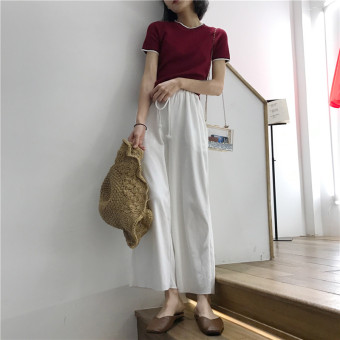 LOOESN Korean-style women high-waisted student casual pants wide leg pants (Ivory white)