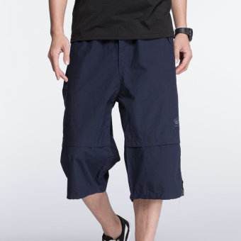 LOOESN men Plus-sized extra-large men's casual shorts Capri pants (Dark blue color)