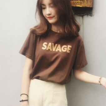 Loose college style cotton summer short sleeved t-shirt (4645 brown) (4645 brown)