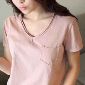 Loose Korean-style cotton v-neck short sleeved t-shirt (Pink) (Pink)