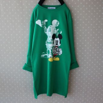 Loose Korean-style New style long-sleeved lettered T-shirt base shirt (Green) (Green)