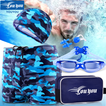 Harga Loose male boxer fashion models adult swimsuit swimming trunks (Camouflage blue suit not near-sighted)