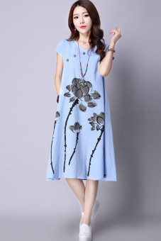 Loose national style summer new ink printed dress (Sky blue) (Sky blue)
