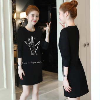 Loose Plus velvet female thick mid-length Korean-style bottoming shirt T-shirt ((8916) Black)