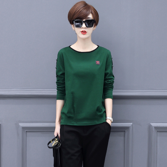 Loose Plus velvet solid color female New style thick bottoming shirt T-shirt (Green)