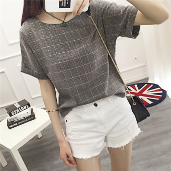 Loose round neck plaid Plus-sized New style Linen short-sleeved t-shirt (Dark gray)