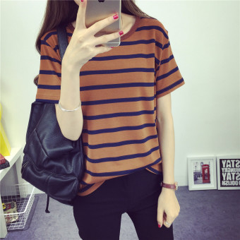 Loose thick horizontal stripes boudoir honey loaded short-sleevedt-shirt spring and summer (Brown) (Brown)