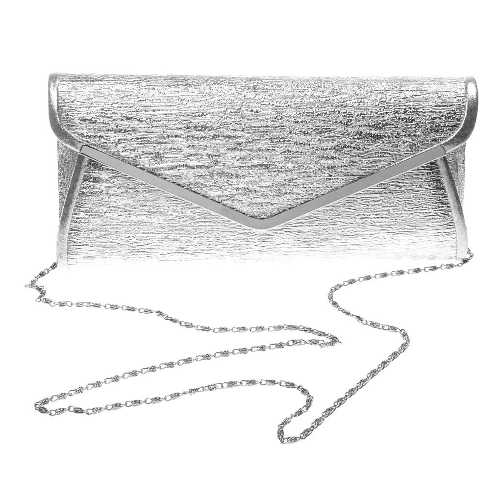 MagiDeal Metal Edges Wedding Clutch Bag Bridal One Shoulder Aslant Handbag Silver - intl