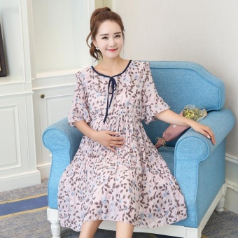 Maternity Daily Round Print chiffon Loose Above Knee Dress Pink - intl