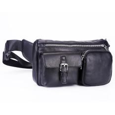 fc69d7f8e9a Men Black Genuine Leather Cowhide Vintage Hip Bum Belt Pouch Fanny Pack  Waist Wallet Purse Clutch