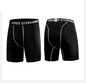 Men football basketball clothes bottoming sports trousers sports pants (Black slim fit shorts)