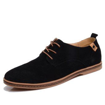 Men shoes 2017 New suede leather fashion Winter4748 (Black)