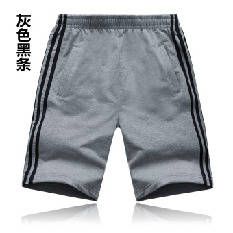 Men shorts basketball loose sports cotton sports shorts (Gray blackstripe) (Gray black stripe)