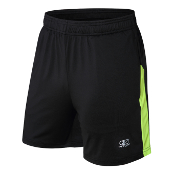 Men Sports Fitness thin breathable loose basketball shorts (Black/fluorescent green)