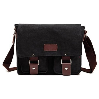 Men Vintage Canvas Messenger Shoulder Bag (Black) - intl