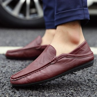 Men's Leather Fashion Loafer Shoes Casual Driving Shoes Maroon