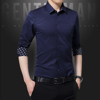 Men's long-sleeved Slim fit models Youth Business casual shirt New style shirt (Dark blue color)