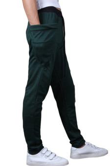 Men's Big Side Pockets Slim Drawstring Jogger Sweatpants (Green) - 2