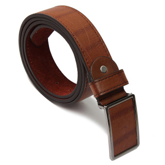 Mens Genuine Leather Vintage Metal Automatic Buckle Waist Band Strap Belt Coffee