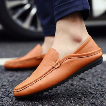 Men's Leather Fashion Loafer Shoes Casual Driving Shoes Yellow