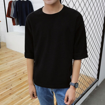 Men's length sleeves sleeve on the clothes Stylish loose wearshort-sleeved t-shirt (Black)