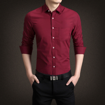 Men's men's New style business casual solid color long-sleeved-inchshirt (Red wine) (Red wine)