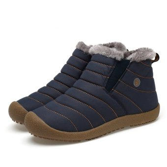 Men's Snow Boots Warm Plush Furry Booties Winter Boots Snow Shoes(Blue)