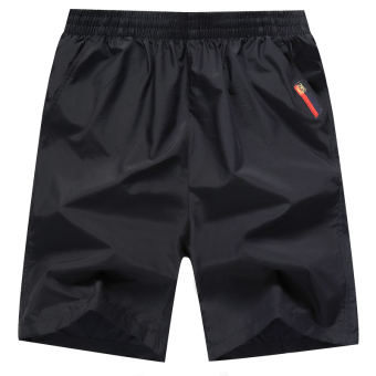 Men's sports loose fitness casual five pants shorts (Black) (Black)