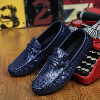 Men's Woven Sandals, Driving Shoes, Peas Shoes, Fashion Comfortable( Blue) - 3