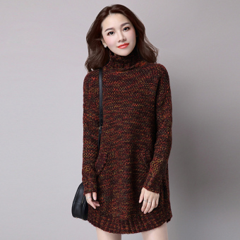 Mid-length slimming base shirt LOOESN knitted shirt (Aubergine)