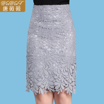 Mid-length slimming word skirt lace skirts (Gray)