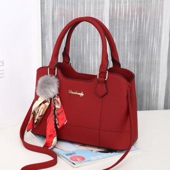 Harga Mini European and American New style small hair ball handbag female bag (Yan Yun women's bag wine red color)