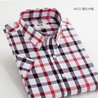 MJX summer New style plaid shirt men's business casual shirtshort-sleeved Korean-style Teenager Slim fit-inch clothes (6623)